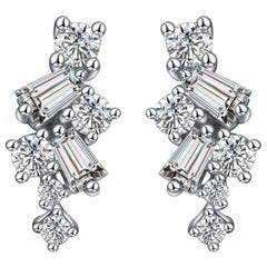 Hestia True Modern Diamond Cluster White Gold Stud Earrings