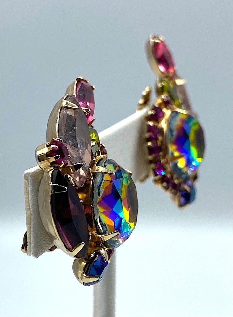Hettie Carnegie 1950s Large Pink, Purple, Blue & Green Brooch & Earrings Set For Sale 6