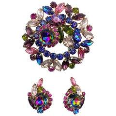 Hettie Carnegie 1950s Large Pink, Purple, Blue & Green Brooch & Earrings Set