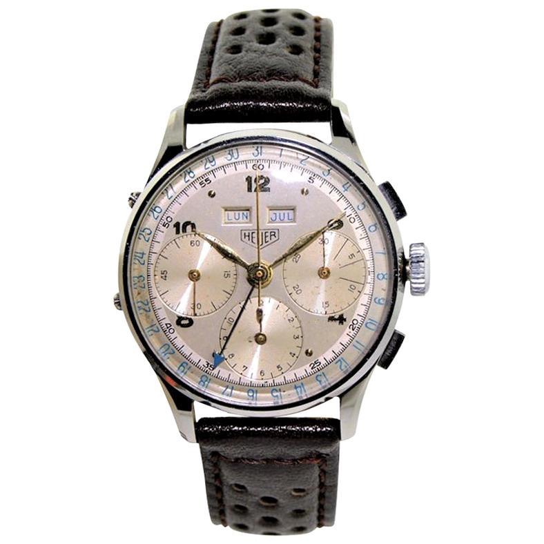 Heuer Stainless Steel Original Dial Triple Date Chronograph Wristwatch