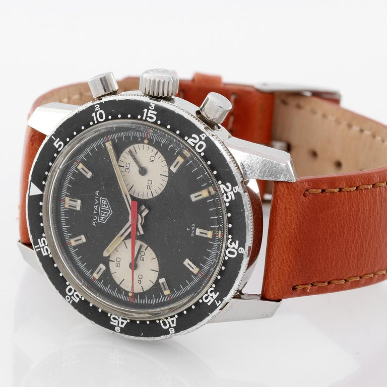 Men's Heuer Stainless Steel Vintage Autavia Chronograph Manual Wristwatch Ref CAL 7733 For Sale
