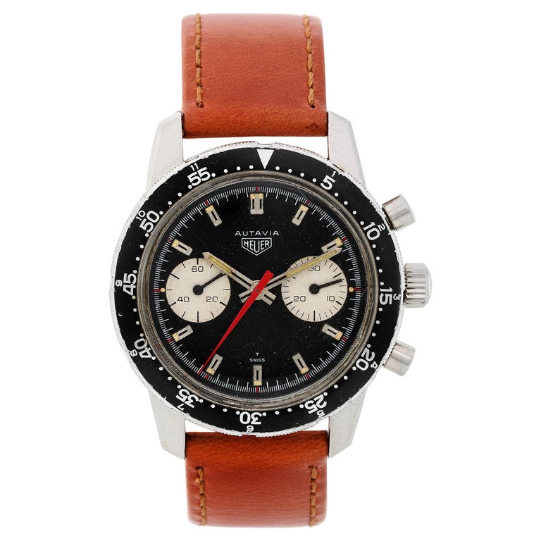 Heuer Stainless Steel Vintage Autavia Chronograph Manual Wristwatch Ref CAL 7733 For Sale
