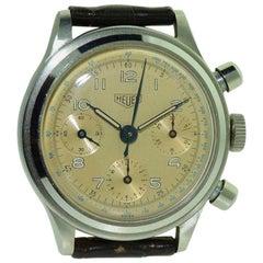 Heuer Stainless Steel Waterproof Three Register Chronograph Manual Watch