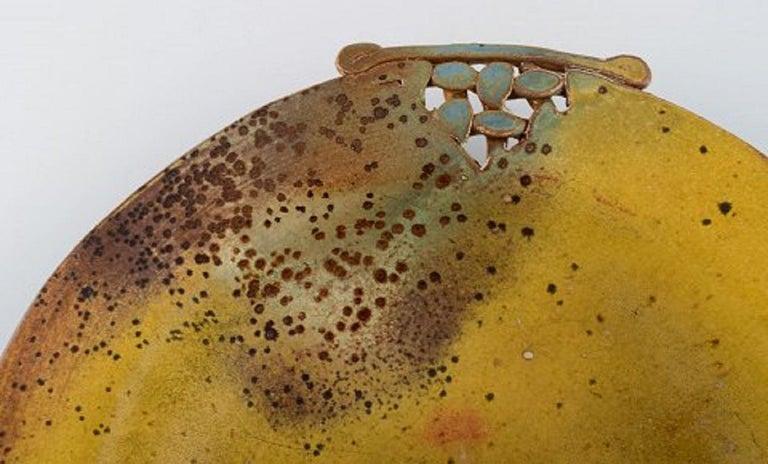 20th Century Heurlin, Sweden, Unique Dish in Glazed Ceramics with Openwork Handles For Sale