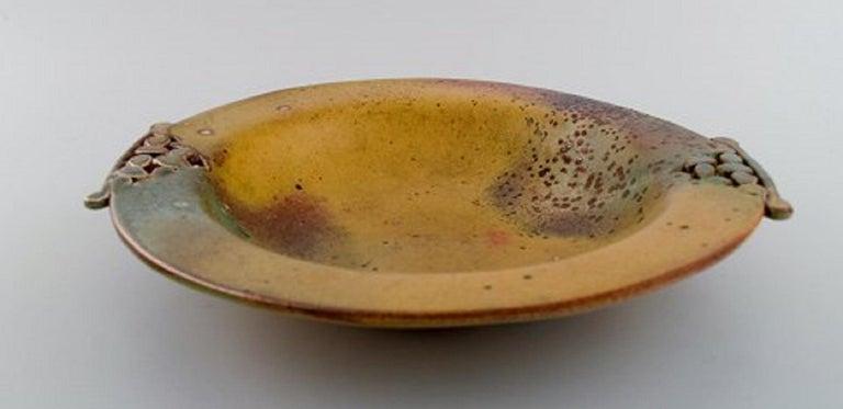 Heurlin, Sweden, Unique Dish in Glazed Ceramics with Openwork Handles For Sale 1