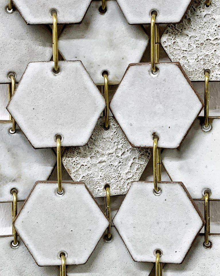 American Hex Banner #1 Ceramic Tile Wall Hanging with Textured Glazes For Sale