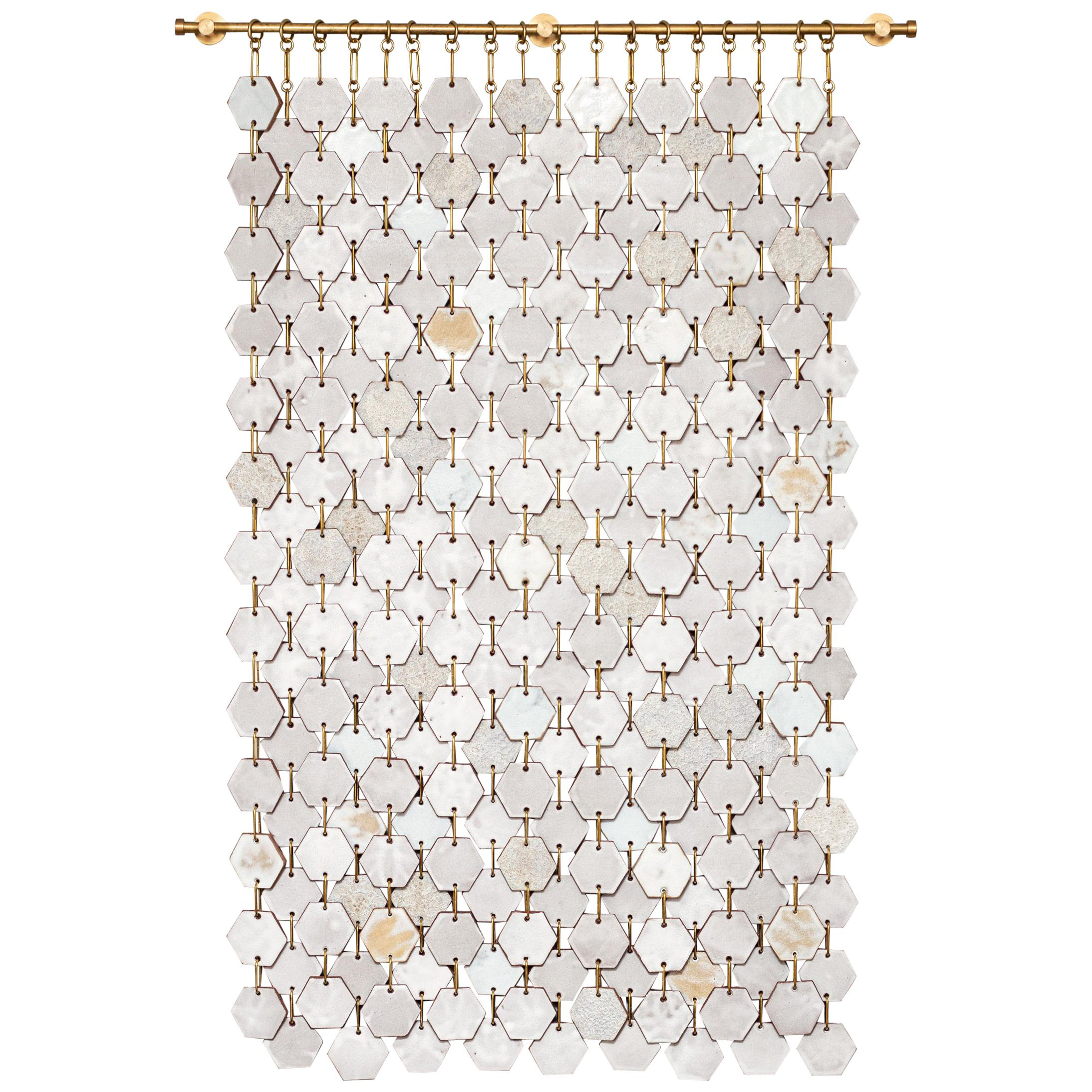 Hex Banner #1 Ceramic Tile Wall Hanging with Textured Glazes
