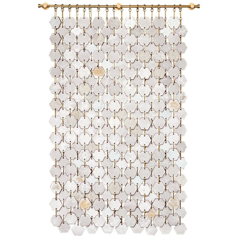 Hex Banner #1 Ceramic Tile Wall Hanging with Textured Glazes For Sale