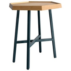 Hex End Table, Dark Turquoise Powder Coated Steel, Ash Top