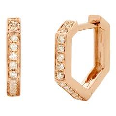 Eva Fehren Hex Hoop Earrings in 18 Karat Rose Gold