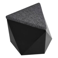 Hex No.2 Modern and Futuristic Ottoman, Wood with Fabric Top Stool-Black Pouf