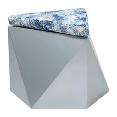 Hex No.2 Modern and Futuristic Ottoman, Wood with Fabric Top Stool-Gray Pouf