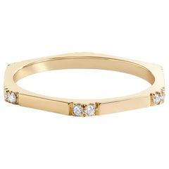 Hex Ring II, Hexagonal Yellow Gold Ring