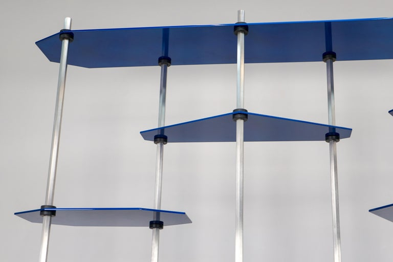 Hex Shelving in Metallic Blue Glaze by Birnam Wood Studio For Sale 11