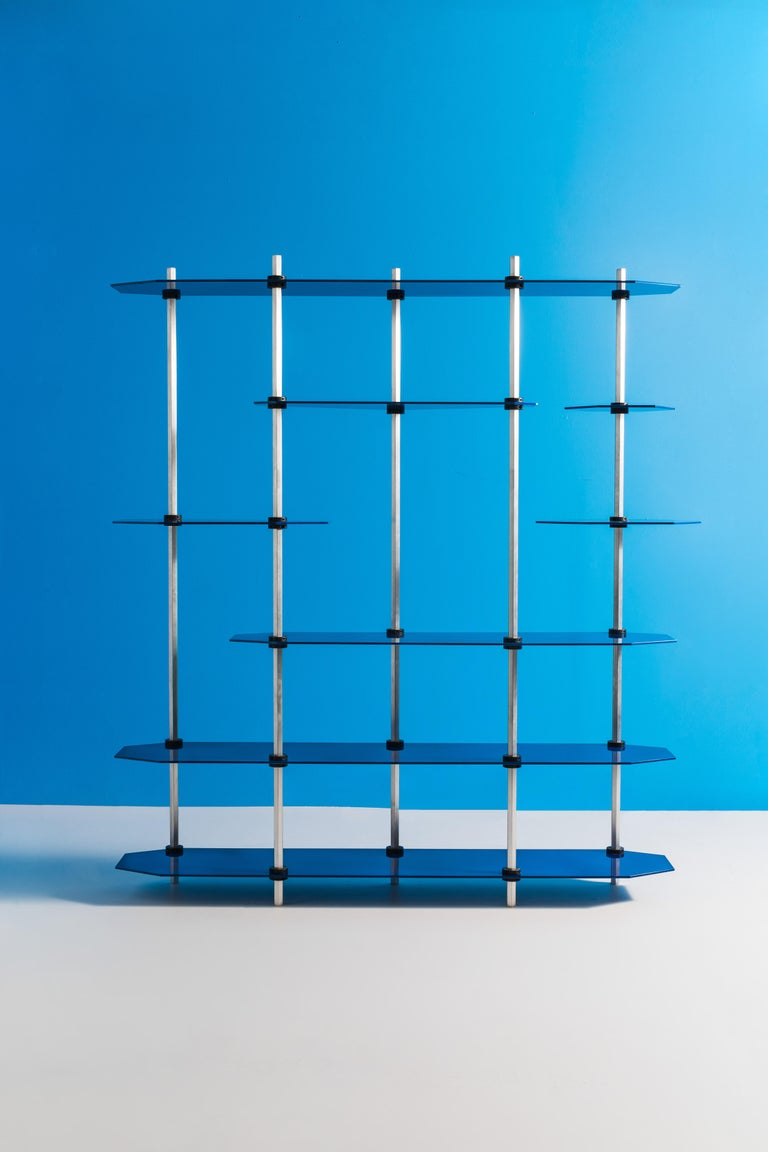 Hex Shelving in Metallic Blue Glaze by Birnam Wood Studio In New Condition For Sale In Ridgewood, NY