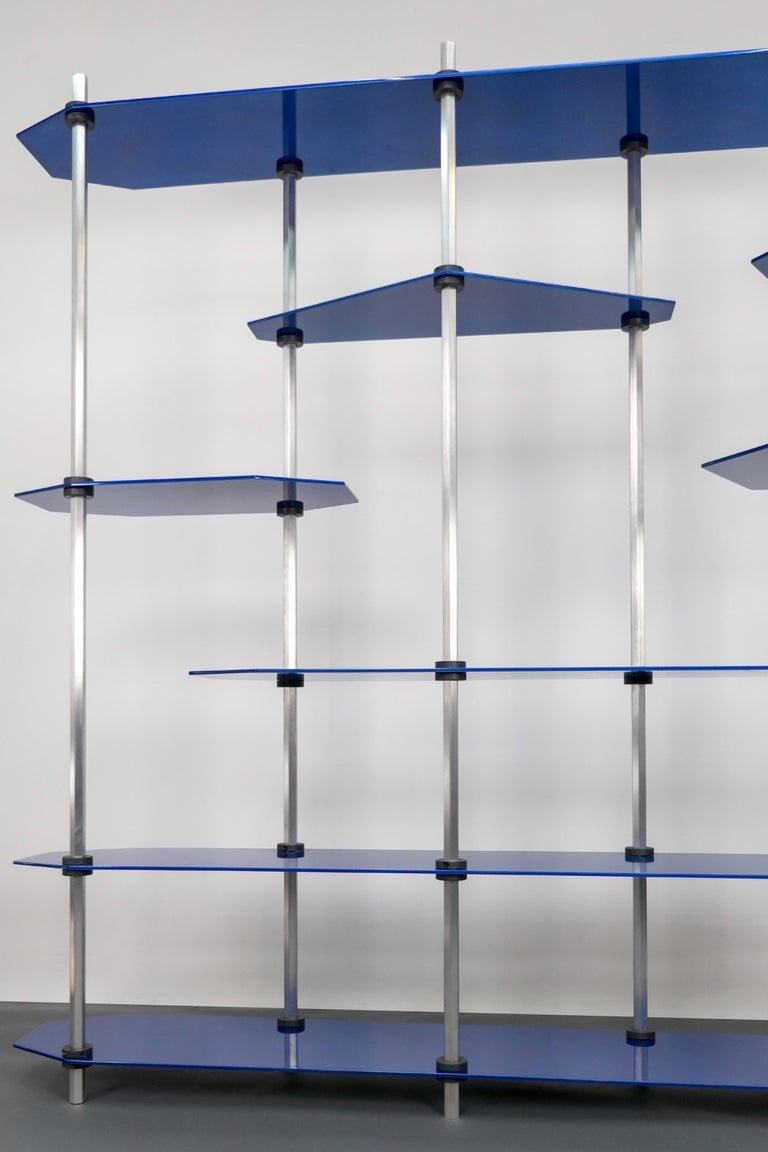 Aluminum Hex Shelving in Metallic Blue Glaze by Birnam Wood Studio For Sale