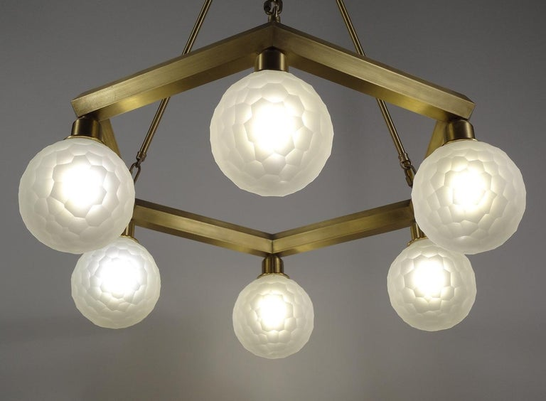 Modern Hexad Series Chandelier, Handmade Contemporary Glass Lighting, Customizable For Sale