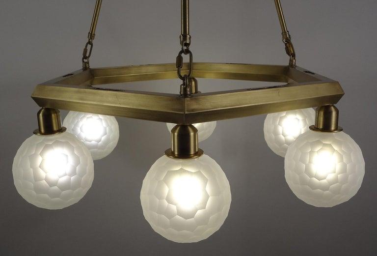 American Hexad Series Chandelier, Handmade Contemporary Glass Lighting, Customizable For Sale