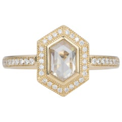 Hexagon Clear Diamond Halo Milgrain Ring 14 Karat Yellow Gold AD2230-1