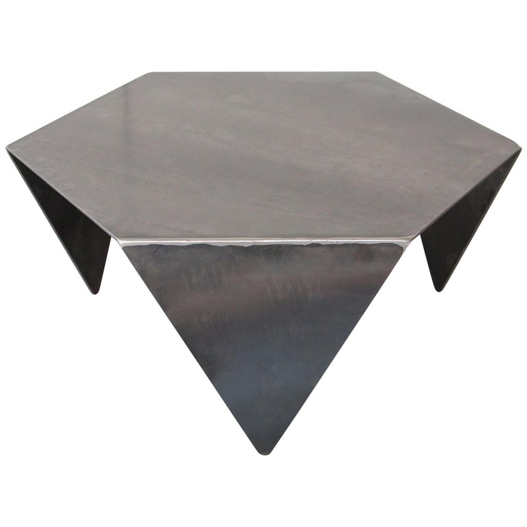 Hexagon Coffee Table in Raw Black Steel Minimalist Design by Mtharu For Sale