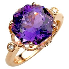 Hexagon Cut African Amethyst Cocktail Ring in Rose Gold