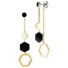 Hexagon Dangling Earrings, Silver and Black Agate