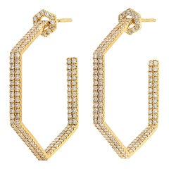 Hexagon Diamond 18 Karat Hoop Earrings