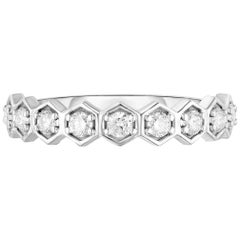 Hexagon Diamond Half Eternity Band or Ring, White Gold, Ben Dannie