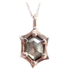 Hexagon Diamond Pendant in 14 Carat Rose Gold