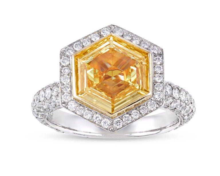 Hexagon Fancy Intense Yellow Diamond Ring, 2.19 Carat In New Condition For Sale In New Orleans, LA