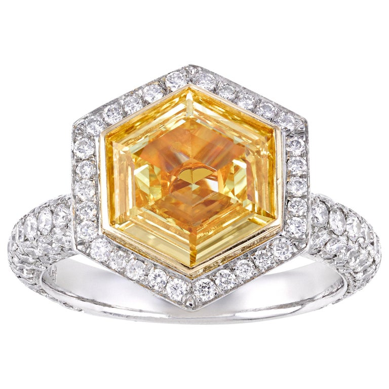 Hexagon Fancy Intense Yellow Diamond Ring, 2.19 Carat For Sale