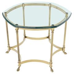 Hexagon Glass Top Brass Base Hoof Feet Italian Side End Table Stand