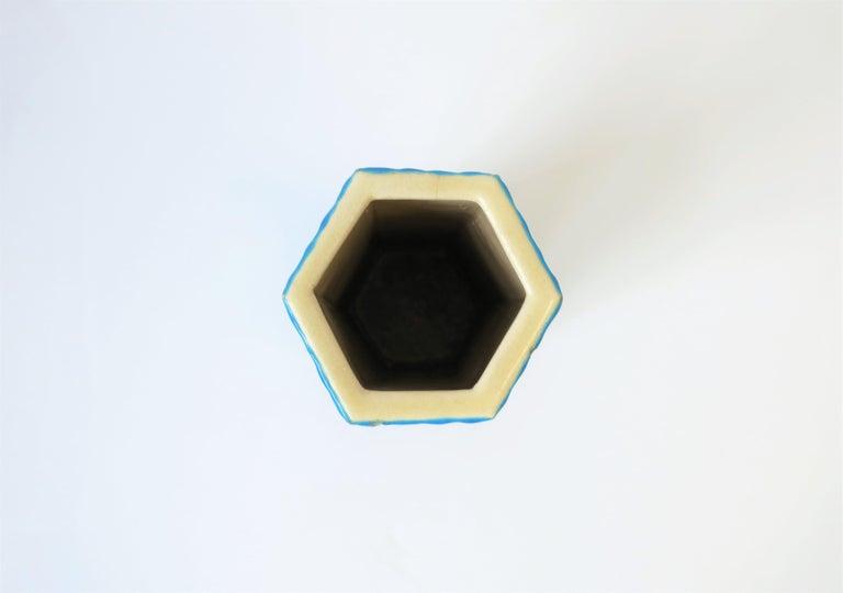Hexagon Japanese Satsuma Majolica Style Earthenware Vase with Birds For Sale 3