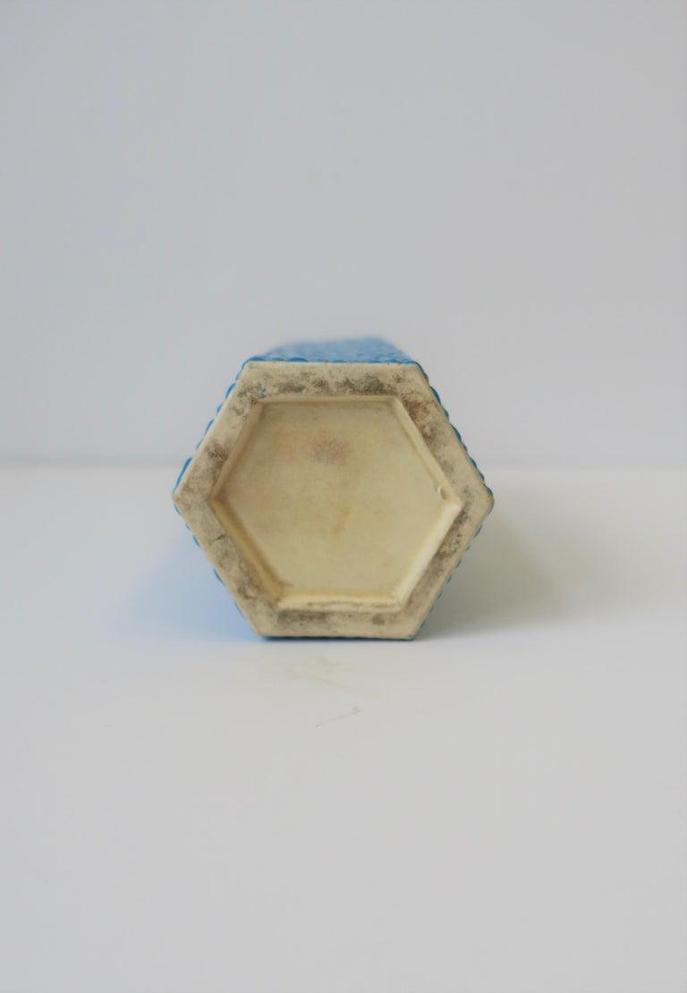 Hexagon Japanese Satsuma Majolica Style Earthenware Vase with Birds For Sale 4