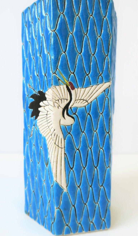 20th Century Hexagon Japanese Satsuma Majolica Style Earthenware Vase with Birds For Sale
