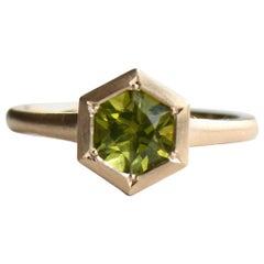Hexagon Peridot Ring, 14 Karat Yellow Gold Cocktail Ring