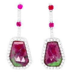 Hexagon Ruby-Zoisite, Round Ruby, and White Sapphire Drop Earrings