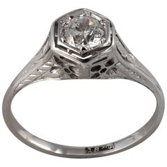 Art Deco Hexagon .50 Carat Diamond Solitaire Ring 18K White Gold - C 1920s