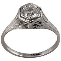 Hexagon Shape Art Deco .50 Carat Diamond Solitaire Ring 18K White Gold - C 1920s