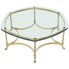 Hexagon Shape Glass Top Brass Frame Hoof Feet Coffee Table