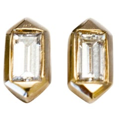 Hexagon Shaped Stud Earrings with Baguette Diamonds