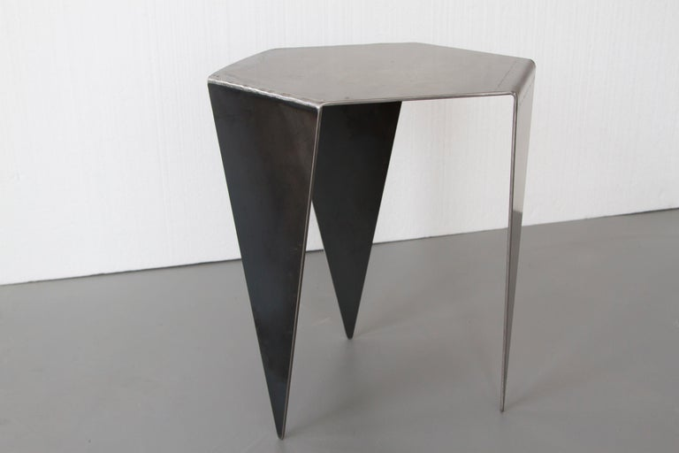 Canadian Hexagon Side Table in Raw Black Steel Minimalist Design by Mtharu For Sale