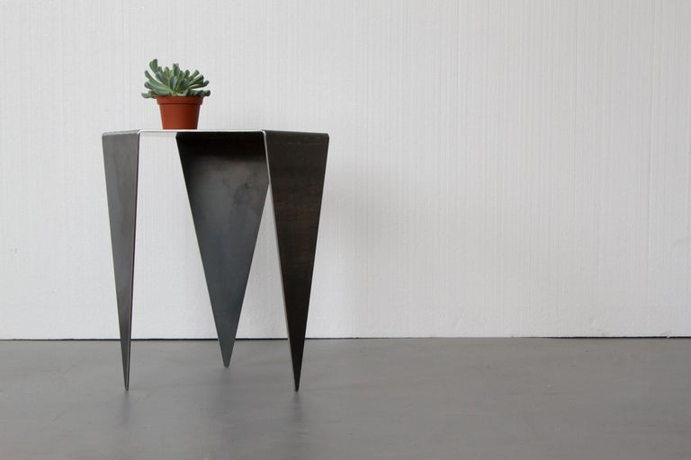 Hexagon Side Table in Raw Black Steel Minimalist Design by Mtharu In New Condition For Sale In Calgary, Alberta