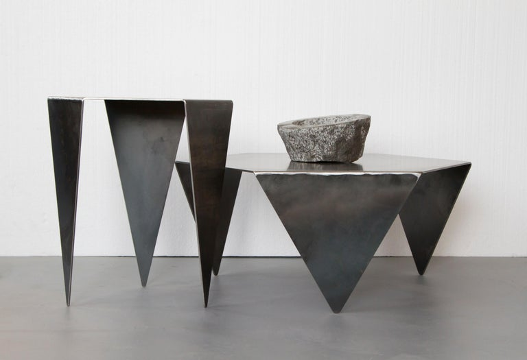 Contemporary Hexagon Side Table in Raw Black Steel Minimalist Design by Mtharu For Sale