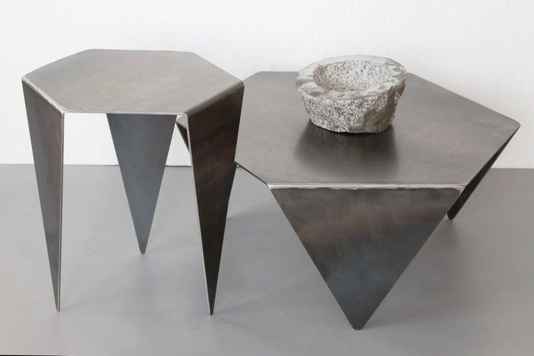 Hexagon Side Table in Raw Black Steel Minimalist Design by Mtharu For Sale 1
