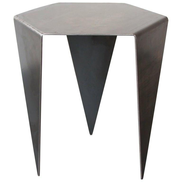 Hexagon Side Table in Raw Black Steel Minimalist Design by Mtharu For Sale