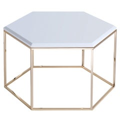 Hexagon Small Side Table with Marble top #178