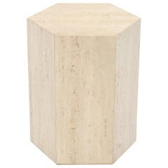 Hexagon Travertine Tall Side End Table Pedestal