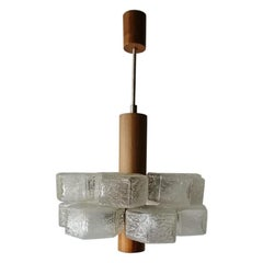 Hexagonal 12 Glass Tubes and Teak Atomic Age Chandelier by Temde, 1960s, Germany