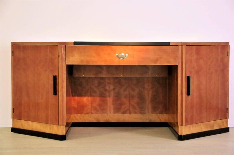 Sechseckiger Art Deco Schreibtisch aus Kirschbaumholz und Mahagoni 7